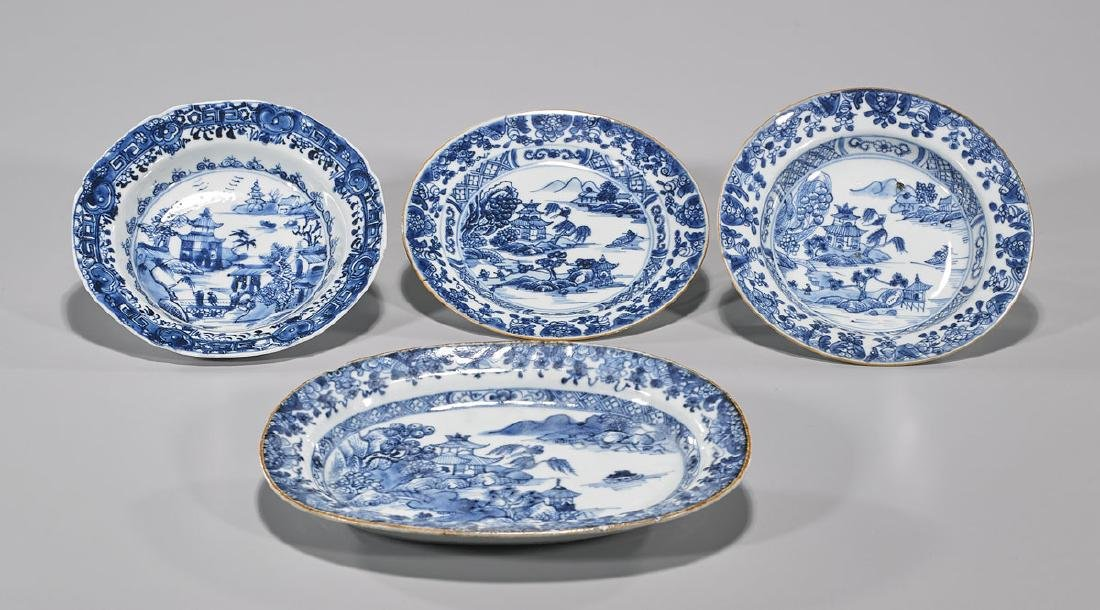 Four Antique Chinese Export Porcelain Dishes