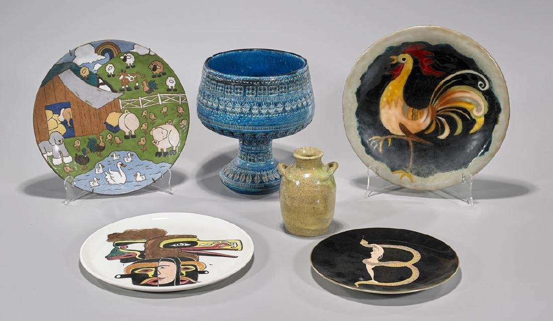 Group of Six Various Decorative Plates & Vessels