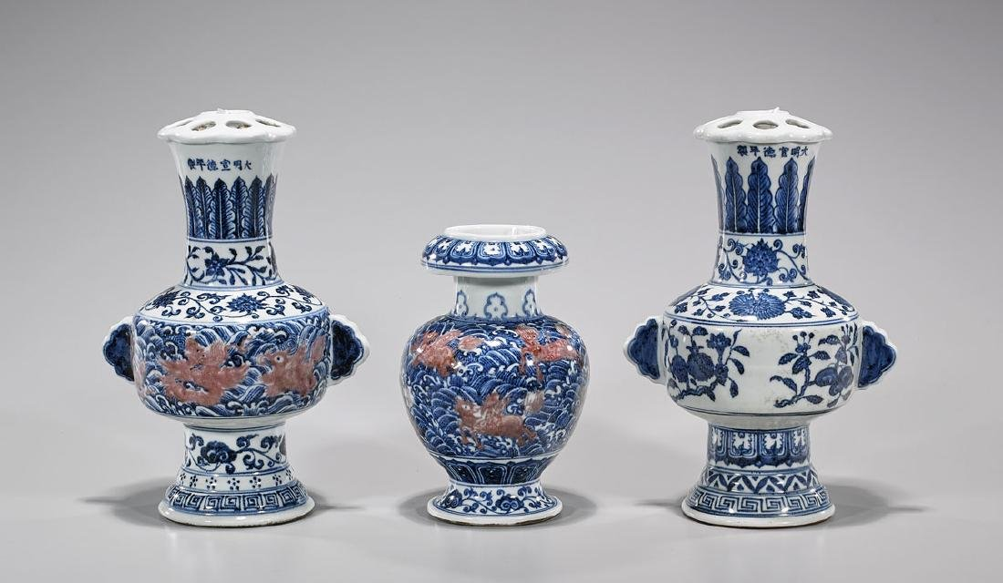 Three Chinese Ming-Style Porcelains