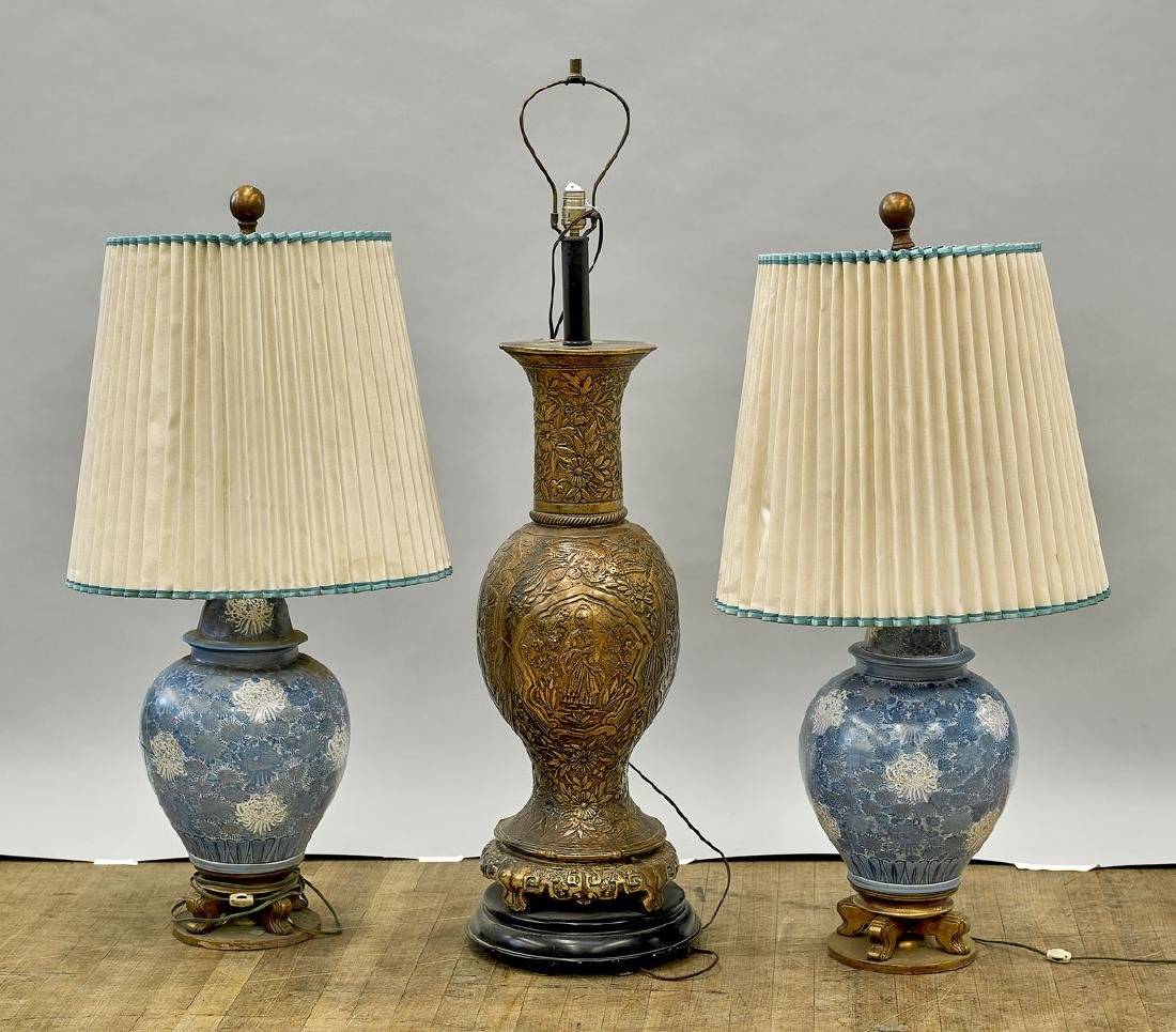 Group of Three Chinese Vases/Lamps