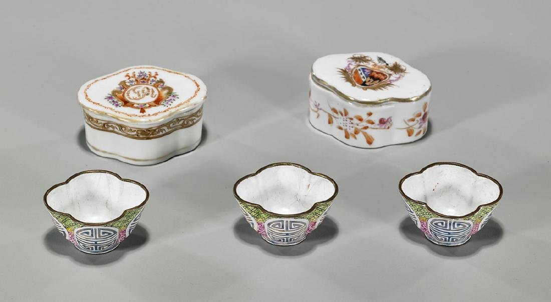 Five Antique Chinese Boxes & Cups