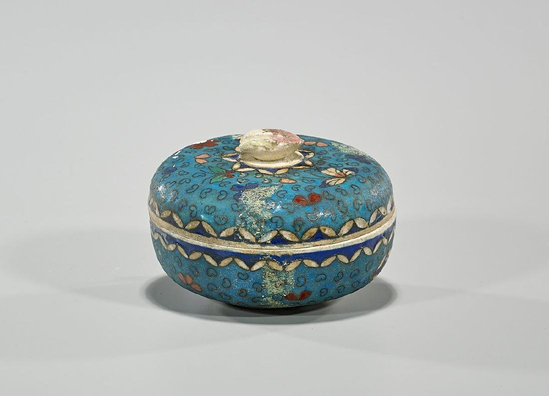 Japanese Cloisonne on Porcelain Covered Dish