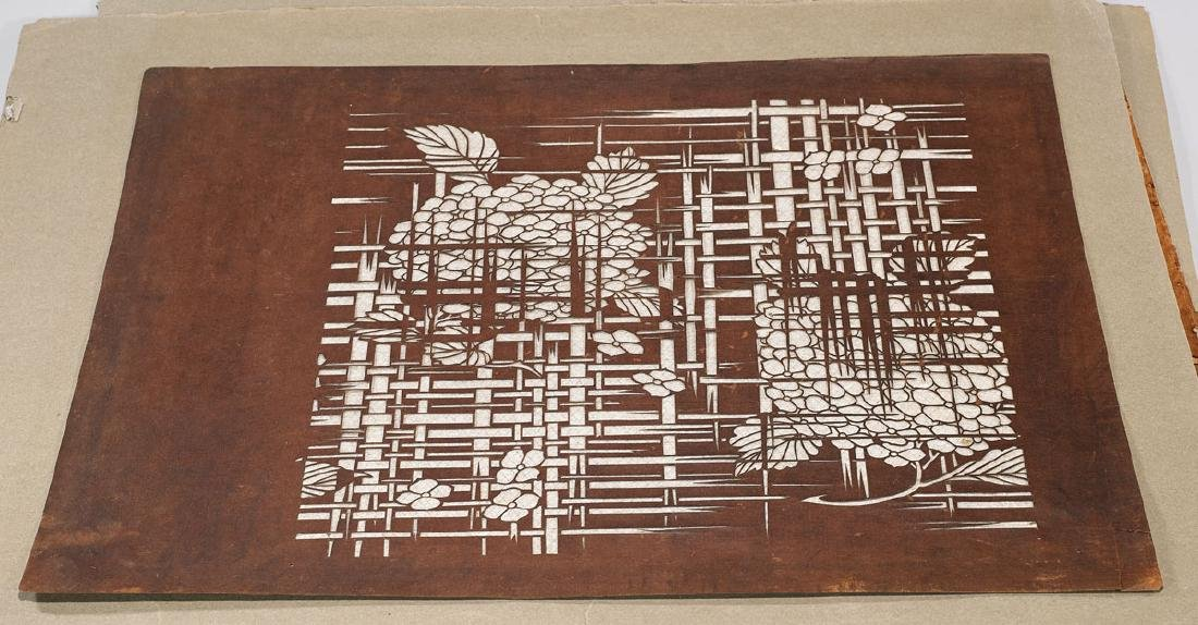 Group of Six Japanese Katagami Stencils - 4