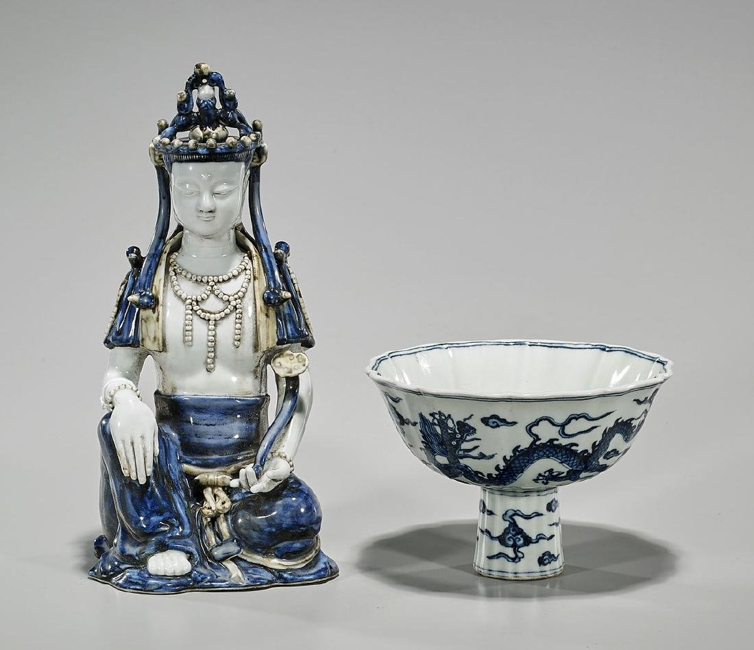 Two Chinese Ming-Style Blue & White Porcelains