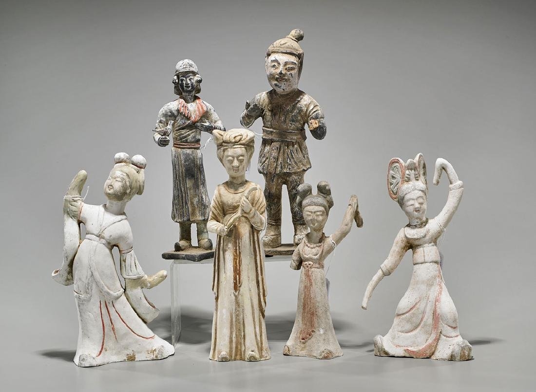 Six Chinese Han-Style & Tang-Style Pottery Figures