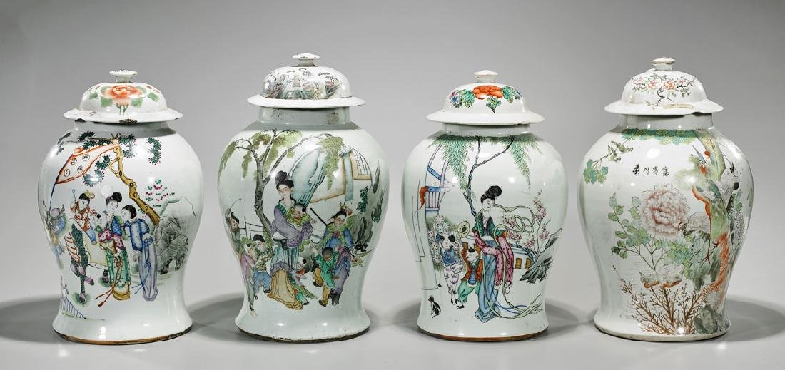 Group of Four Old Chinese Enameled Porcelain Baluster