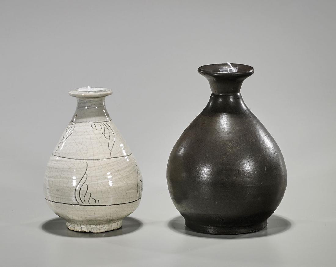 Two Korean Glazed Bottle Vases