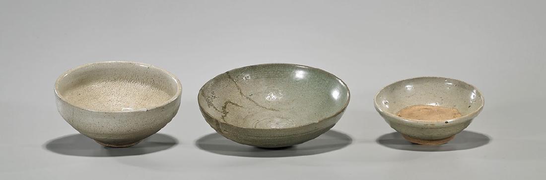 Group of Three Antique Korean Glazed Pottery Bowls