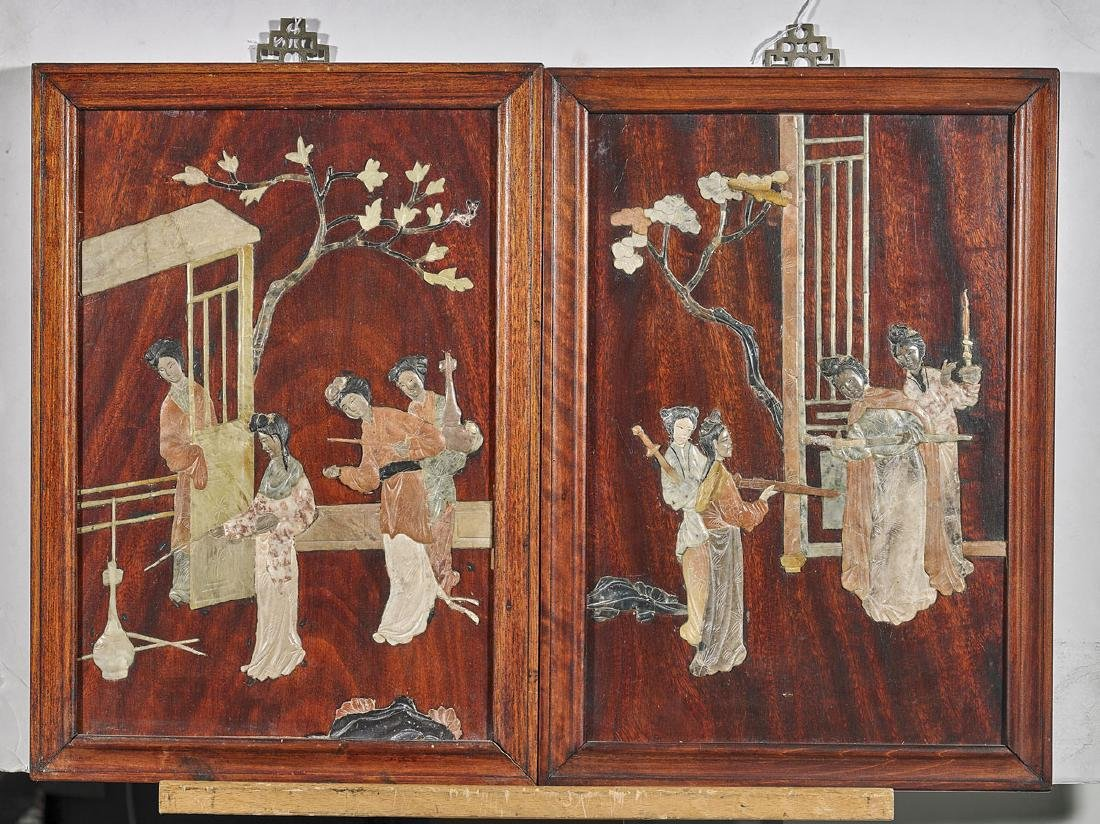 Pair Chinese Applique Hardstone Panels