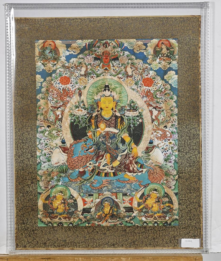 Two Tibeto-Chinese Painted Thangkas