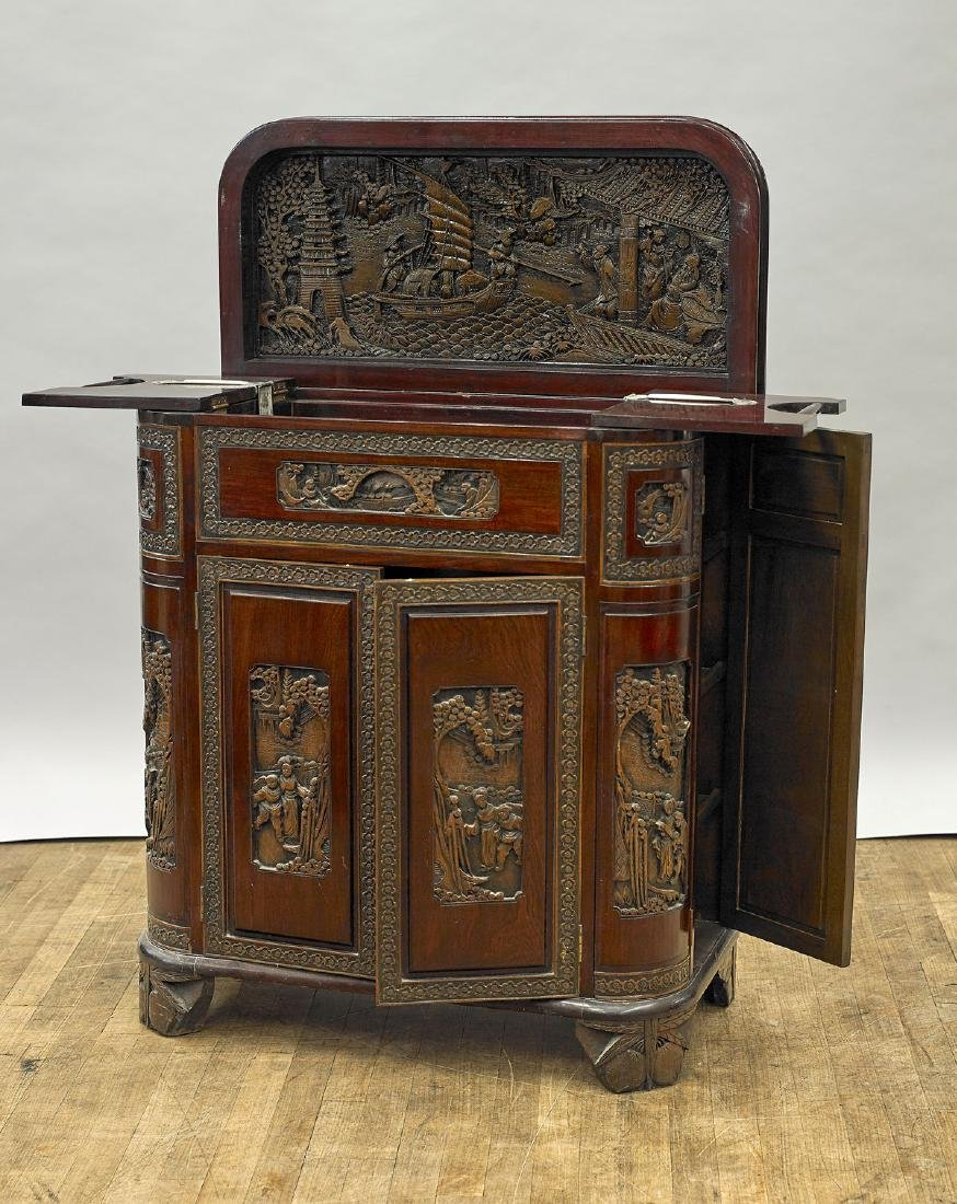 Chinese Carved Wood Bar