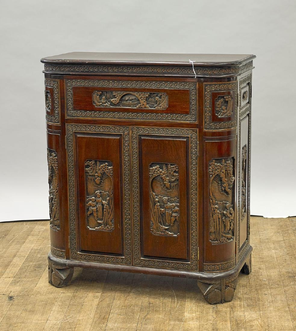 Chinese Carved Wood Bar - 2