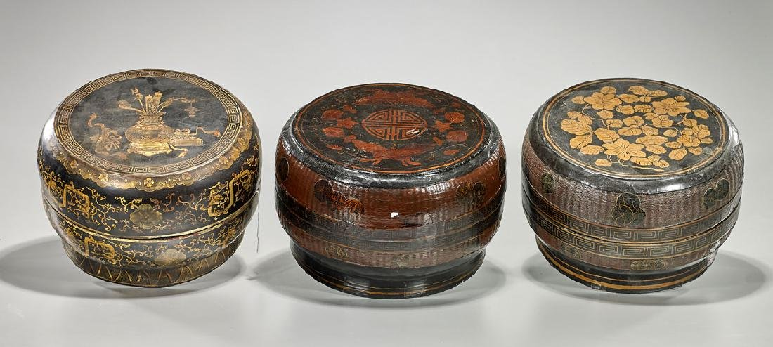 Group of Three Old Chinese Lacquered Boxes