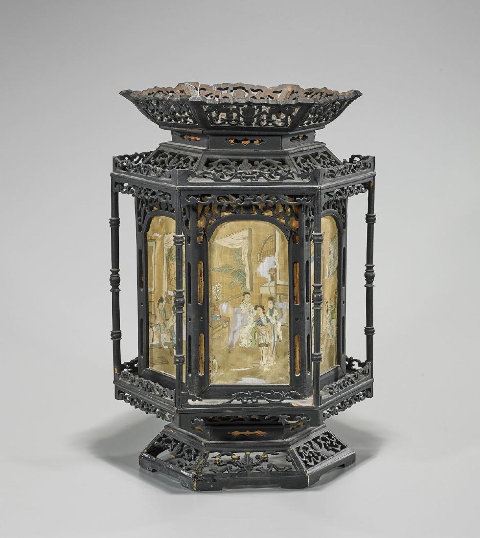 Chinese Carved Wood Lantern