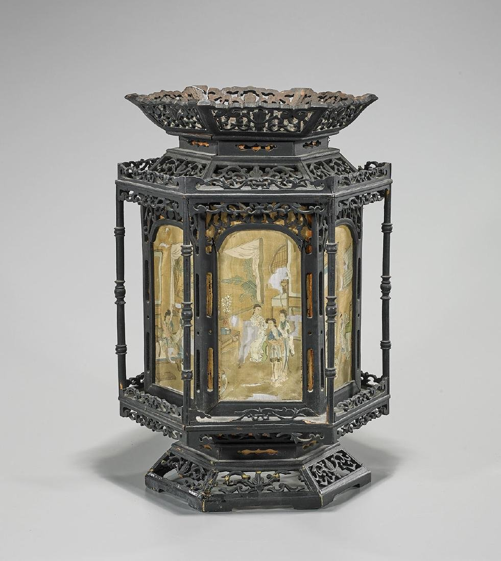 Antique Chinese Carved Wood Lantern