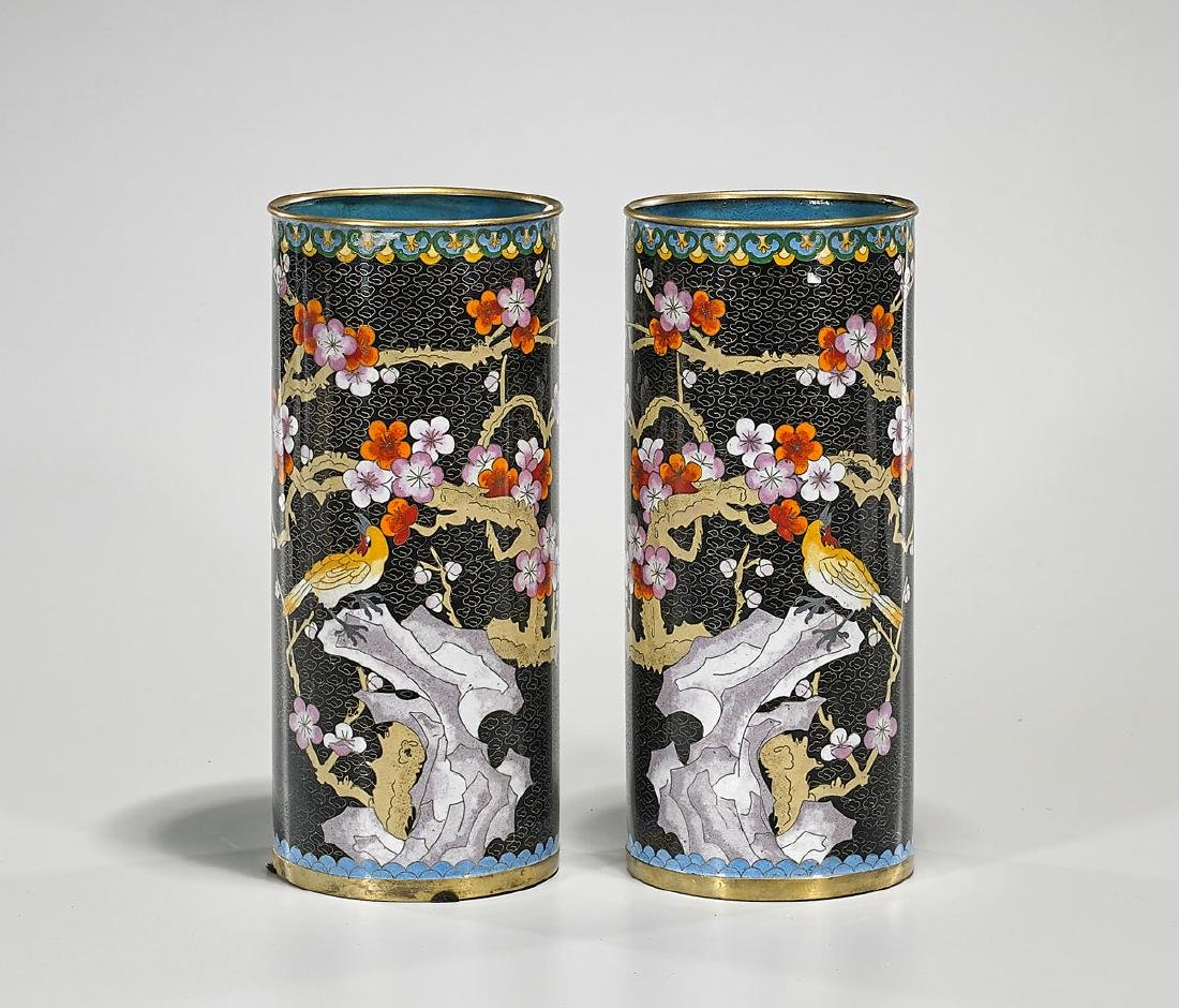 Pair Old Chinese Cloisonne Enamel Hat Stands