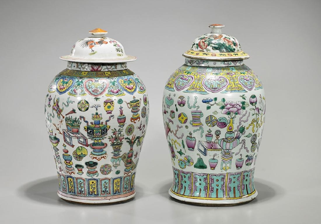 Two Old Chinese Enameled Porcelain Covered Jars
