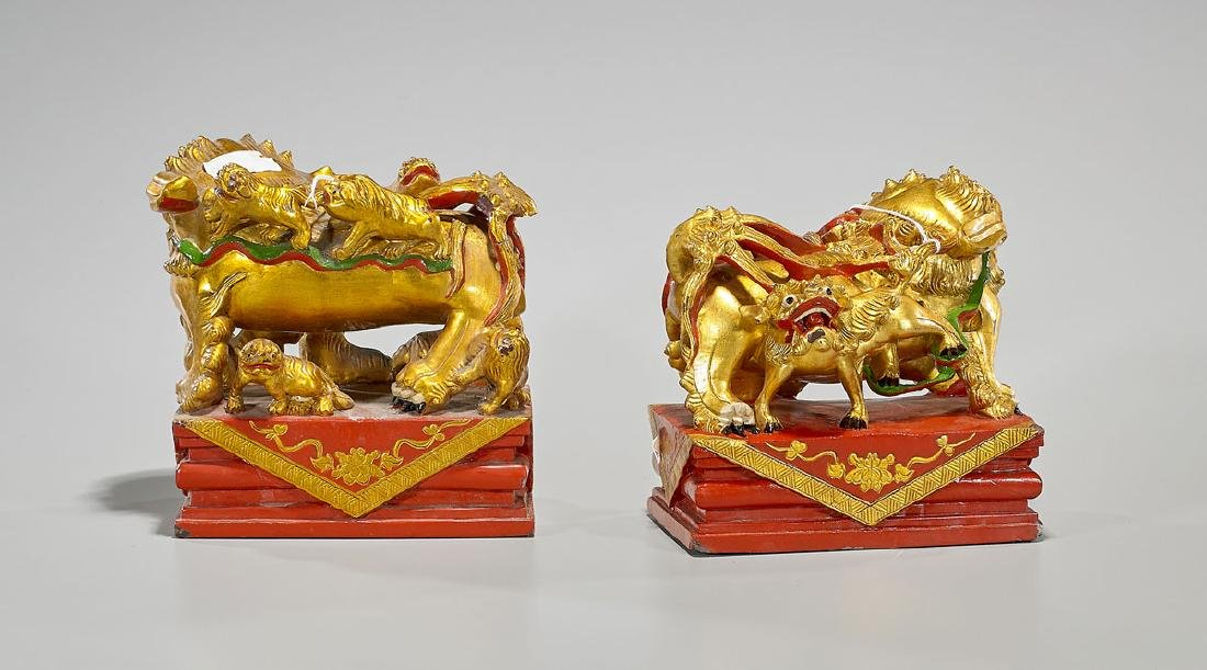 Pair Chinese Gilt & Polychrome Stone Fo Lions - 2