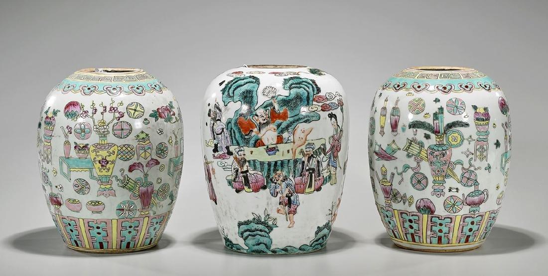 Three Chinese Enameled Porcelain Jars