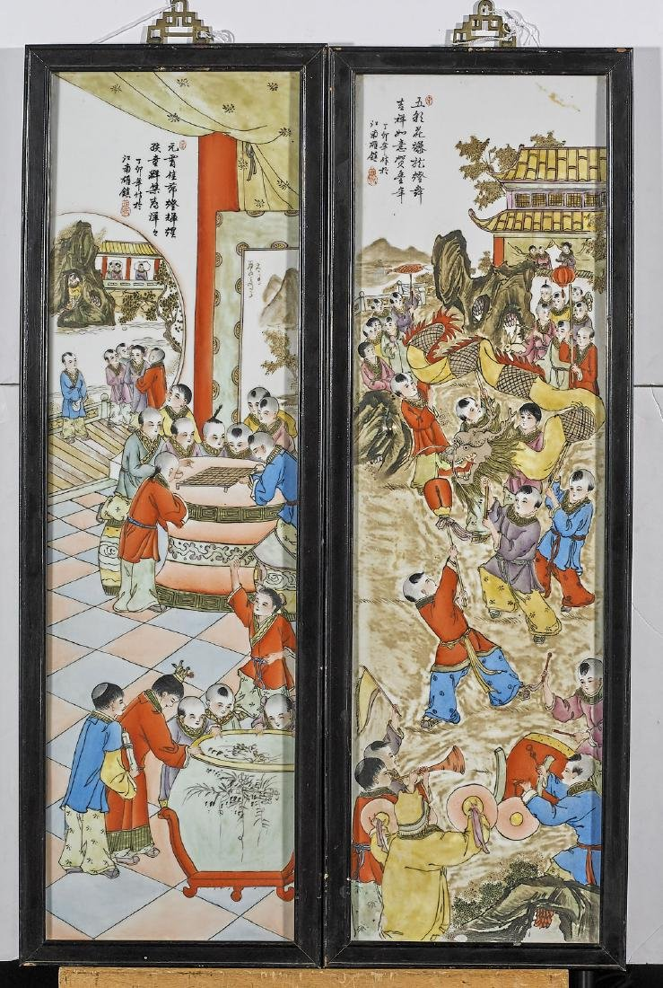 Pair Chinese Enameled Porcelain Plaques
