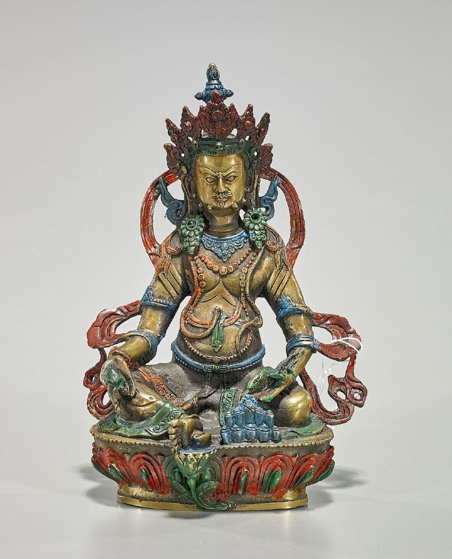 Sino-Tibetan Gilt & Polychrome Bronze Deity