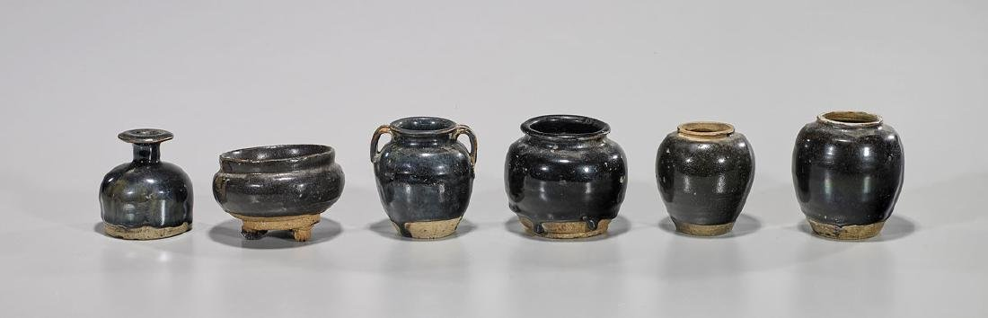 Group of Six Antique Chinese Henan Glazed Jars