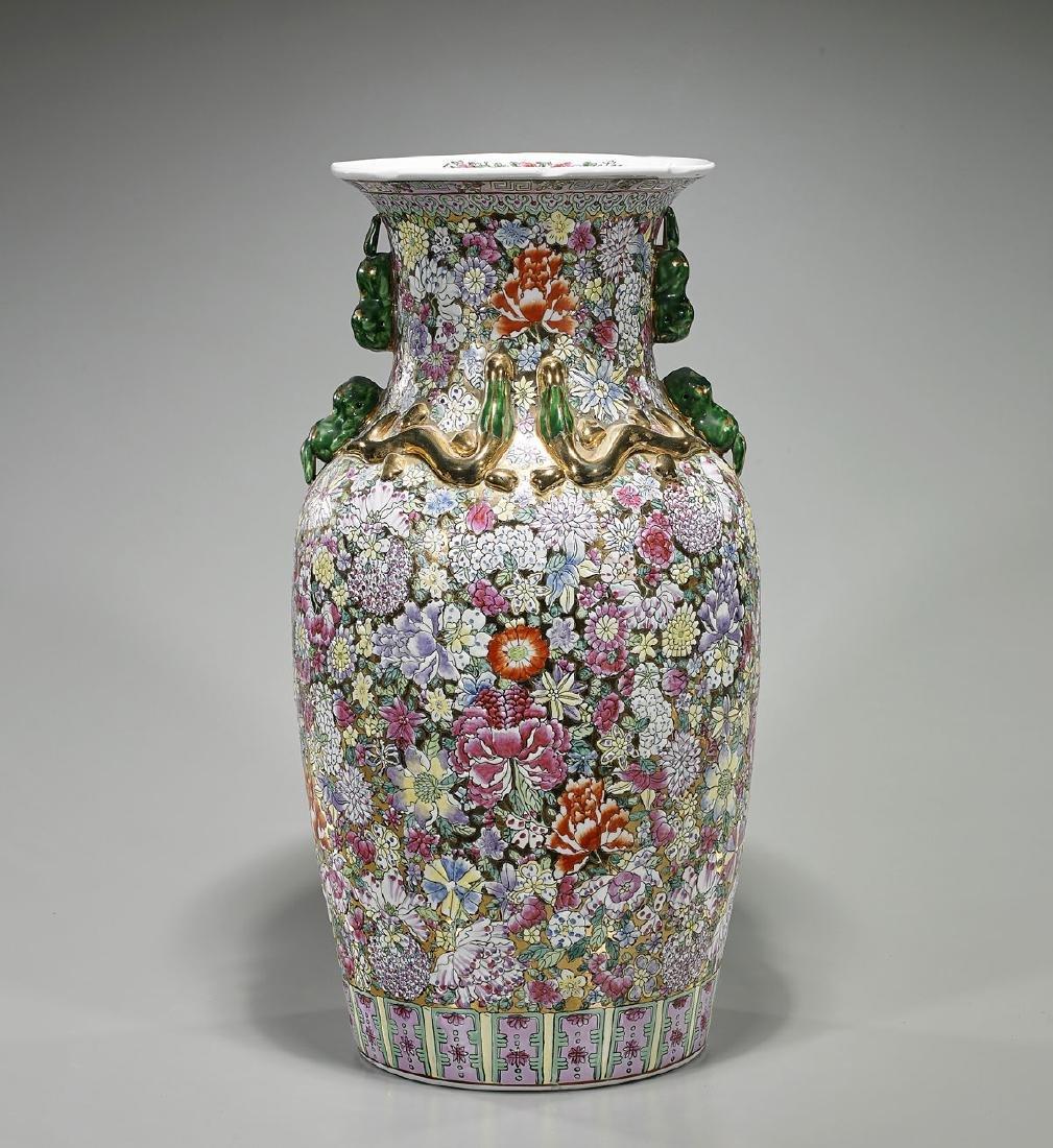 Tall Chinese Enameled Porcelain 'Millefleur' Vase
