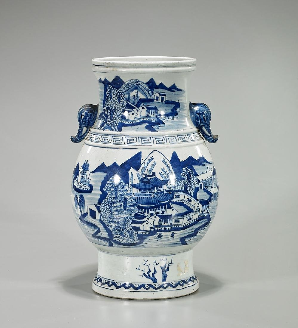 Old Chinese Kangxi-Style Blue & White Porcelain Vase