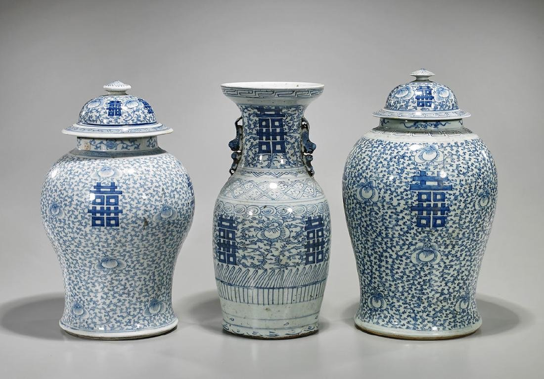 Group of Three Chinese Blue & White 'Double Happiness'