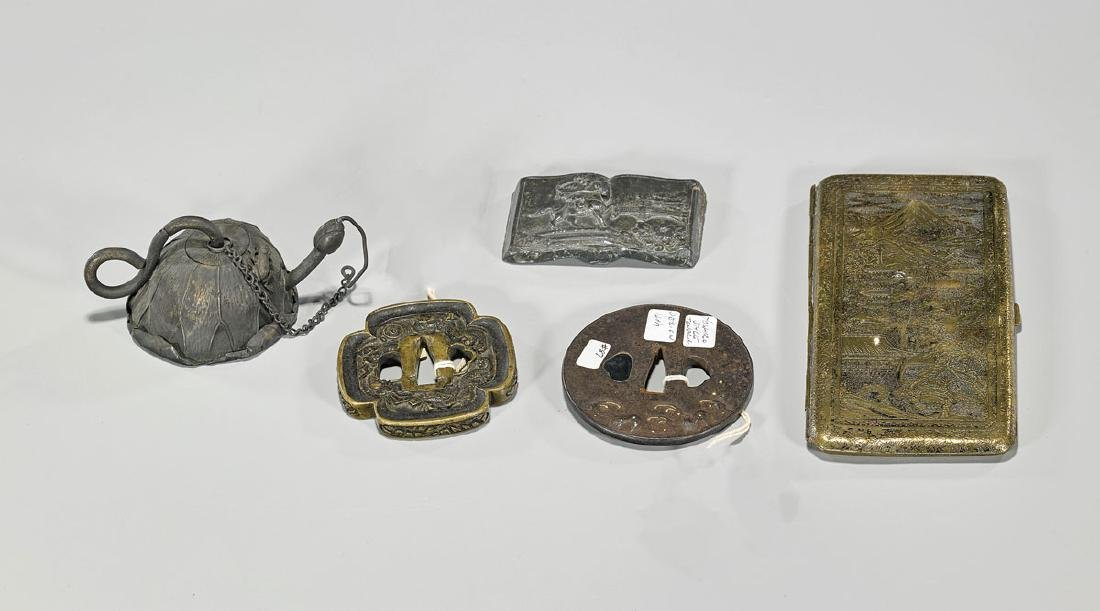 Group of Five Japanese Metalwork Pieces