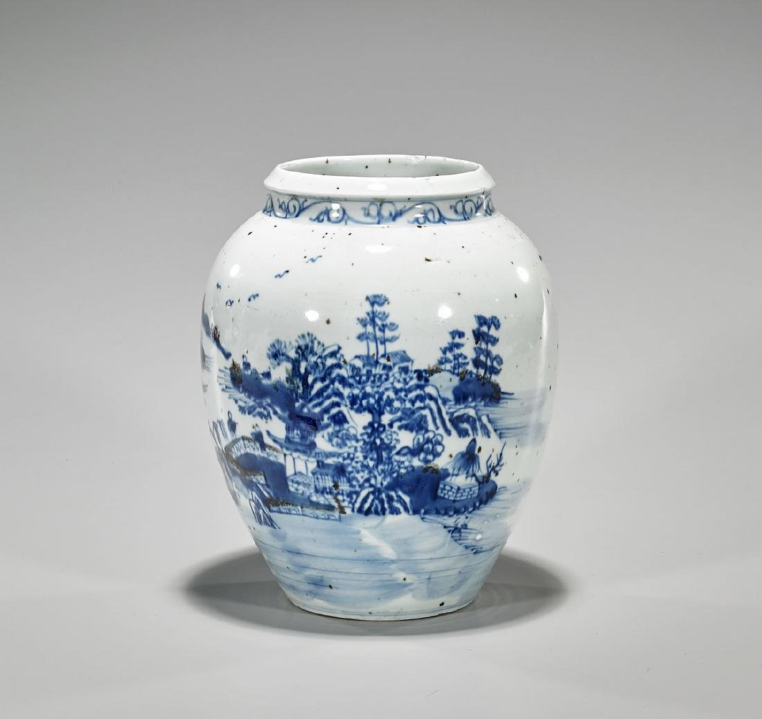 Chinese Blue, White & Red Porcelain Jar