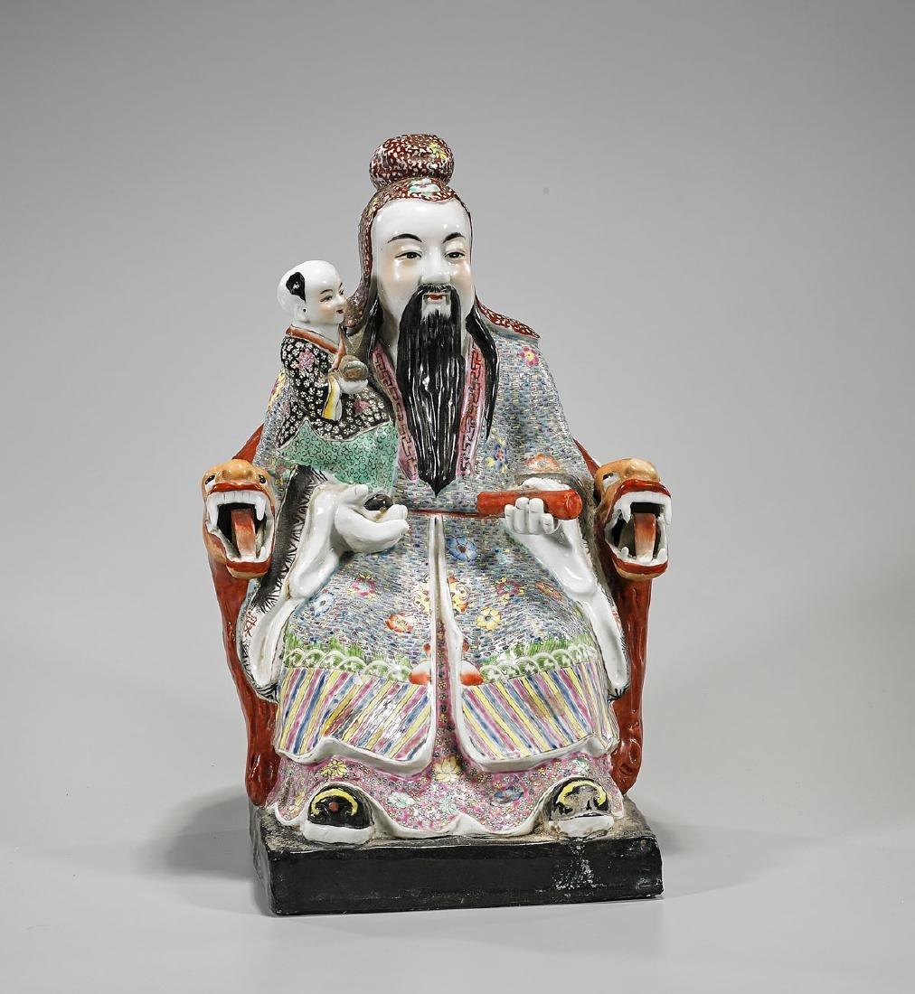 Chinese Enameled Porcelain Seated Figure