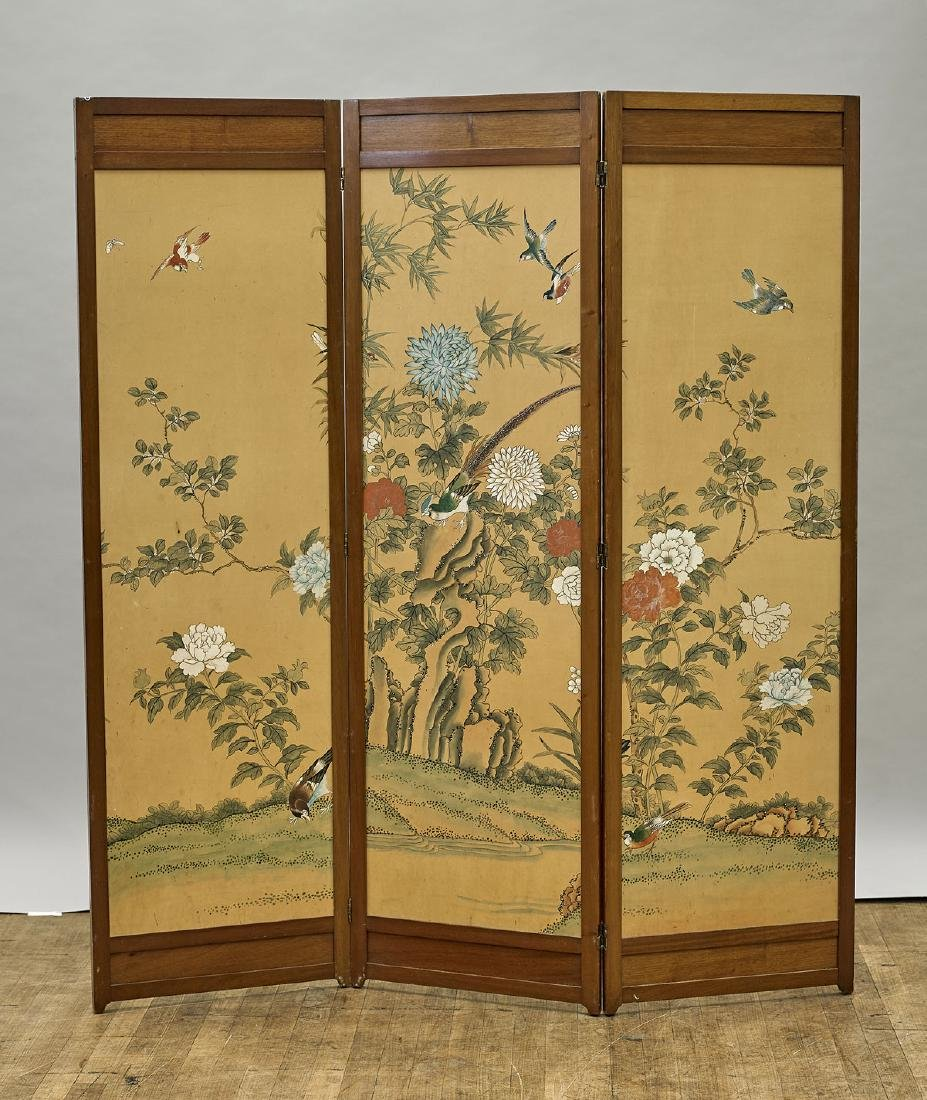 Chinese Three-Panel Painted Screen