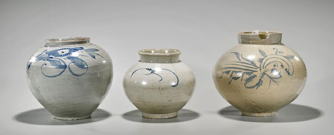 Group of Three Korean Blue & White Porcelain Jars
