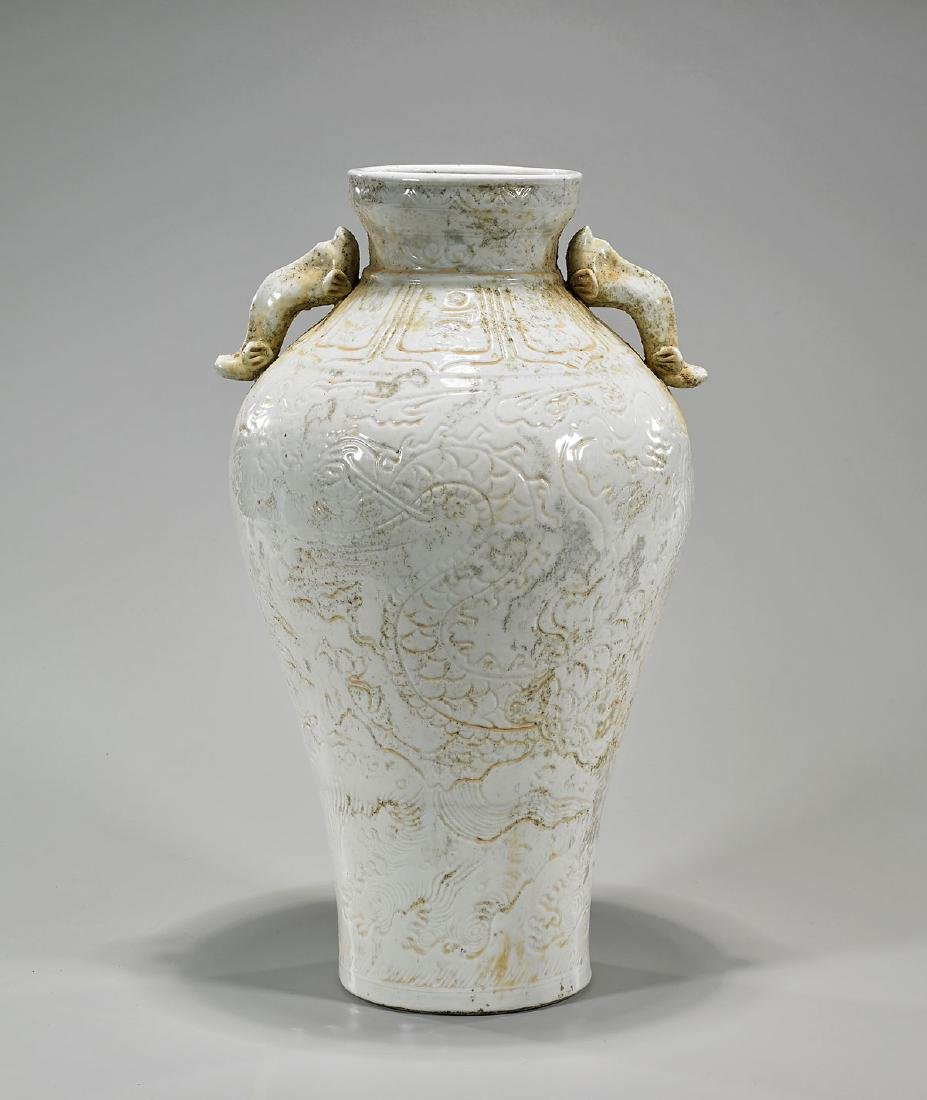 Tall Chinese Song-Style White Glazed Vase