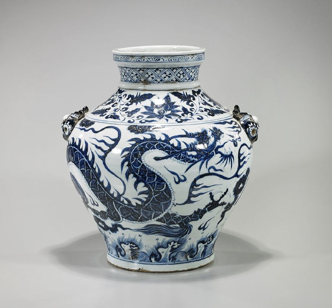 Large Chinese Yuan-Style Blue & White Porcelain Dragon