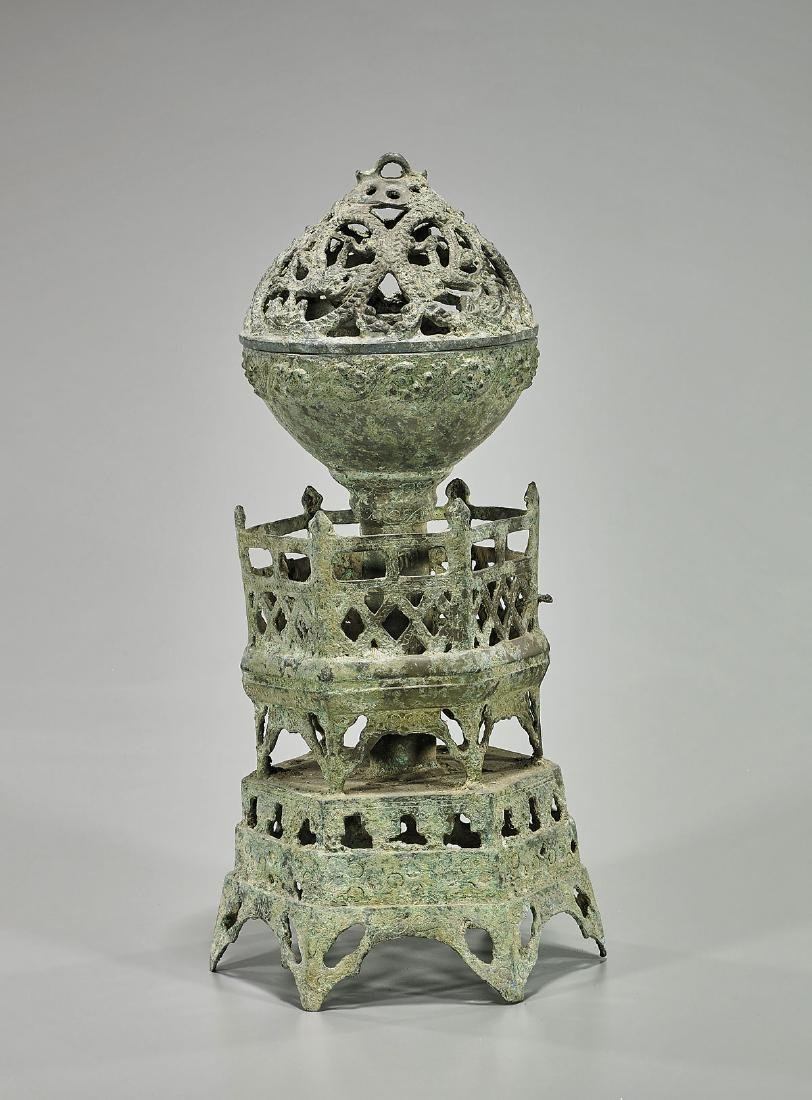 Chinese Archaistic Bronze Covered Censer