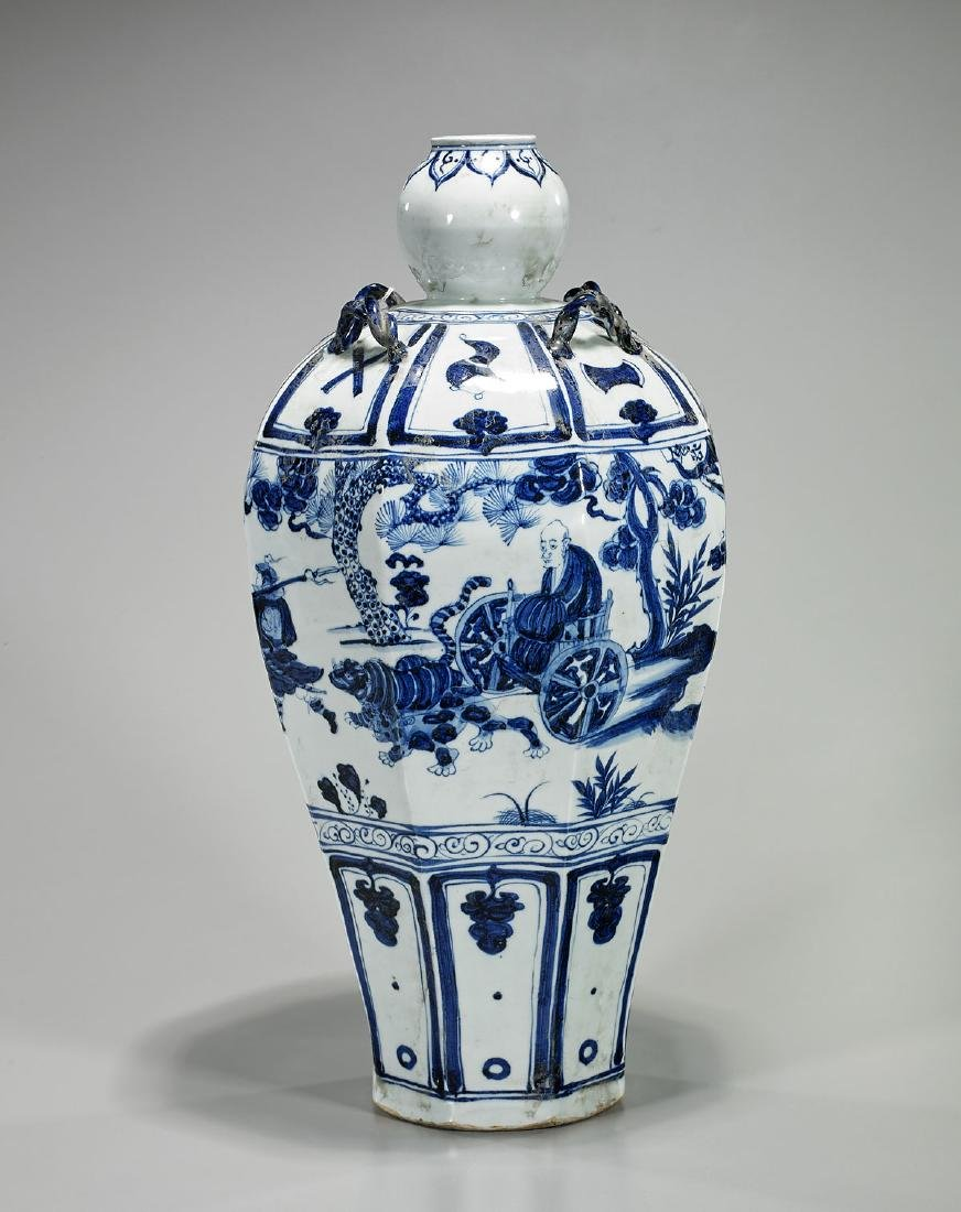 Tall Chinese Yuan-Style Porcelain Vase