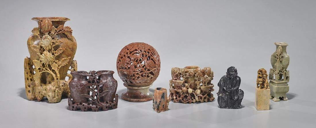 Group of Eight Old Chinese Soapstone Carvings