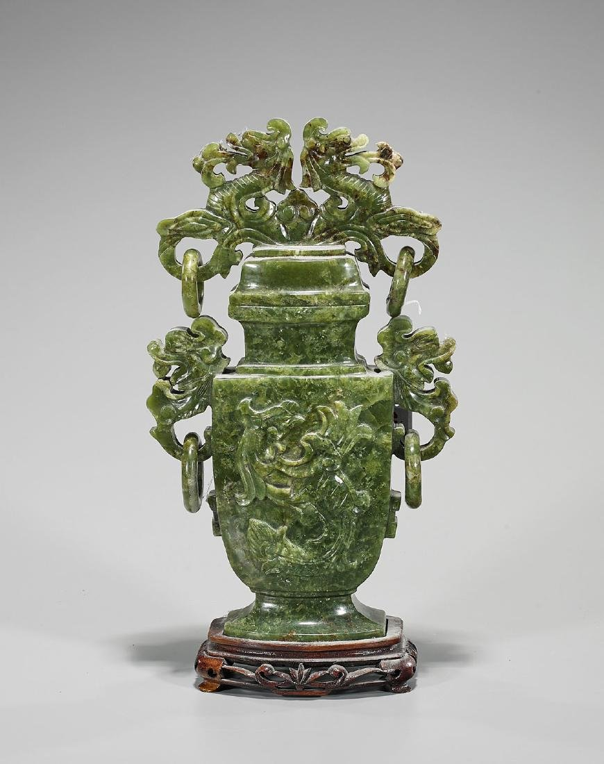 Large Chinese Carved Hardstone Covered Urn