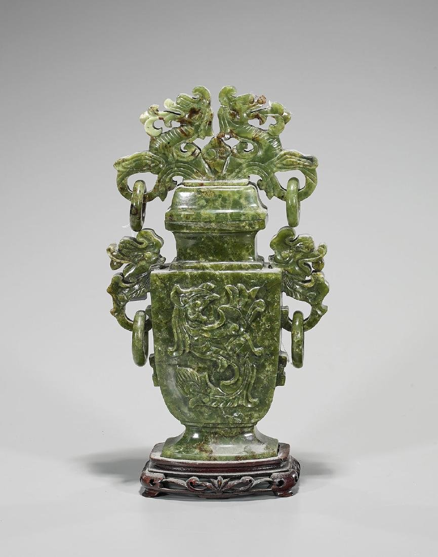 Large Chinese Carved Hardstone Covered Urn - 2