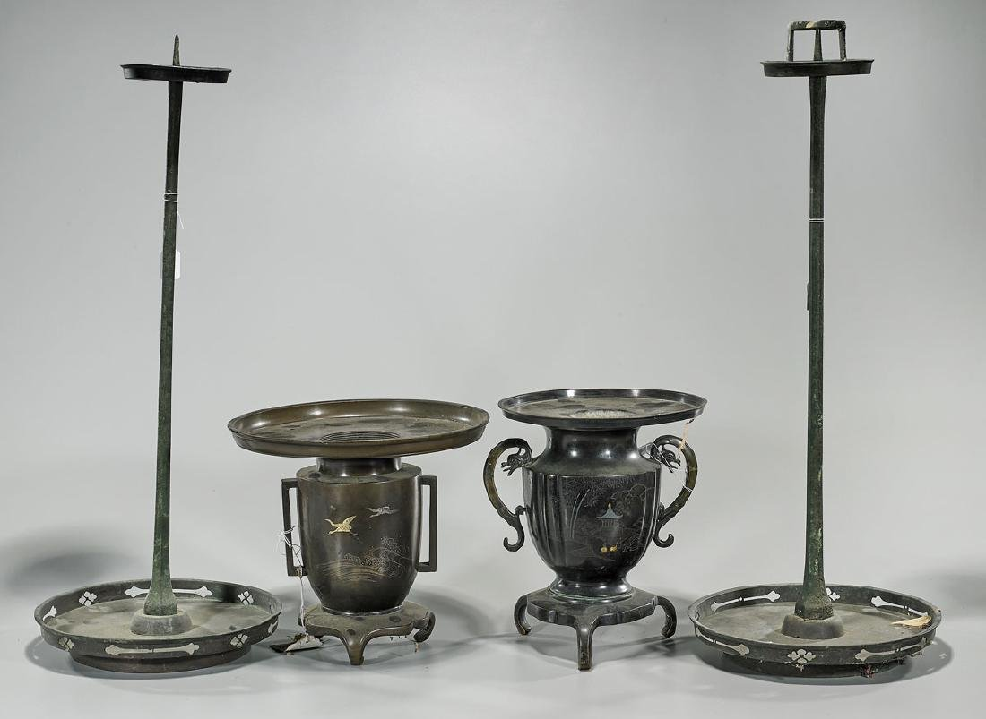 Group of Four Japanese Bronzes