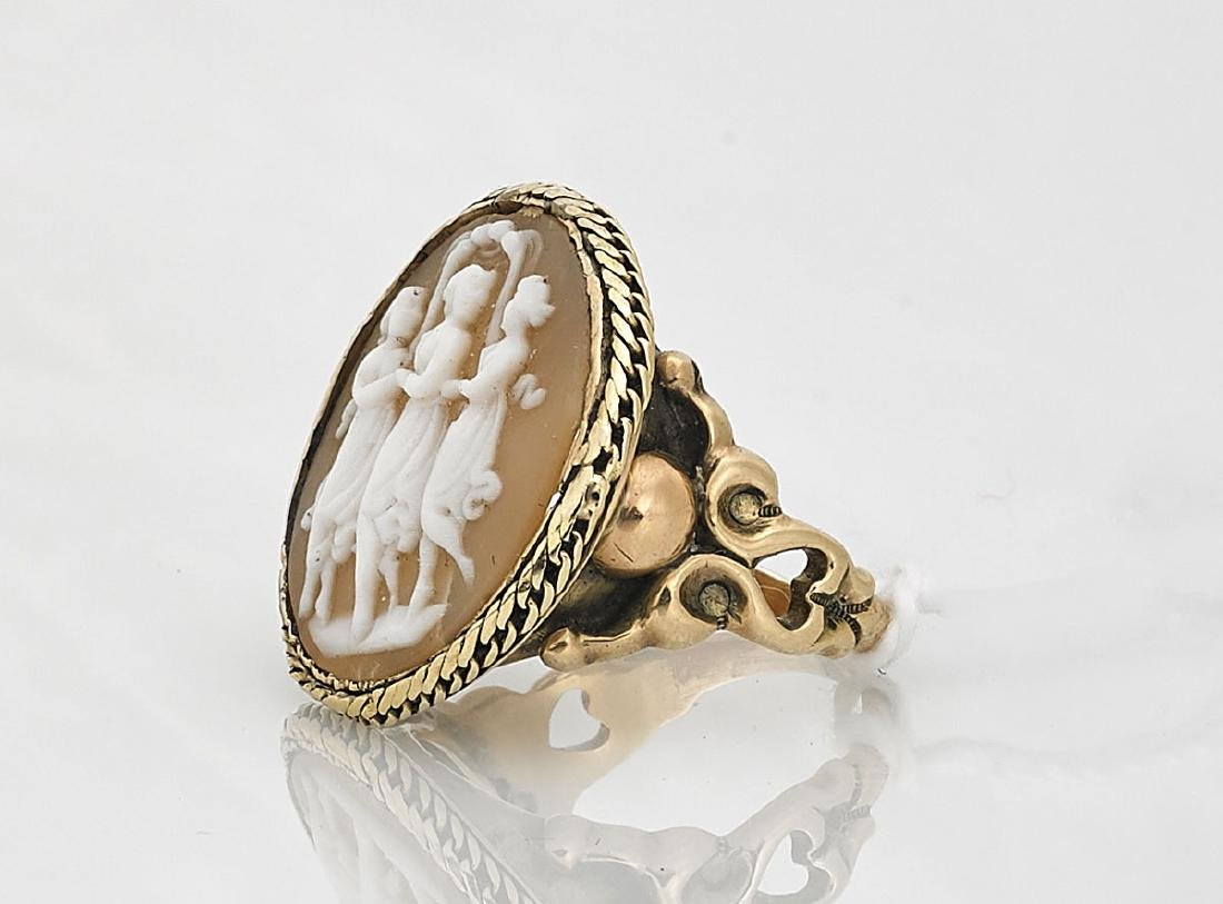 14K Yellow Gold Cameo Agate Ring - 2