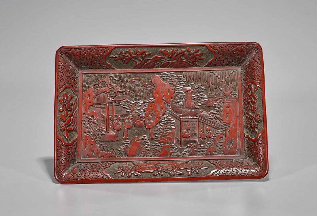 Chinese Cinnabar Lacquer Tray