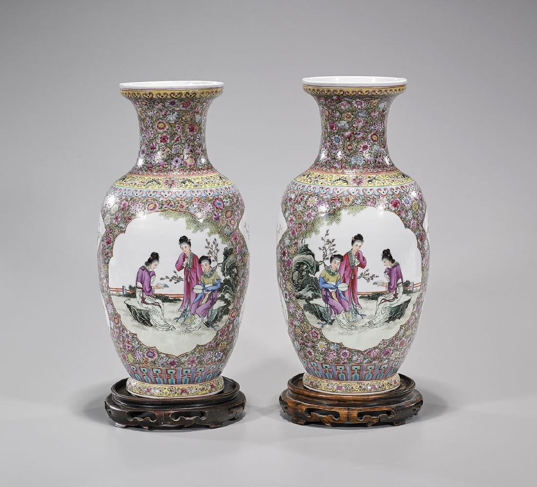 Pair Chinese Famille Rose Enameled Porcelain Vases
