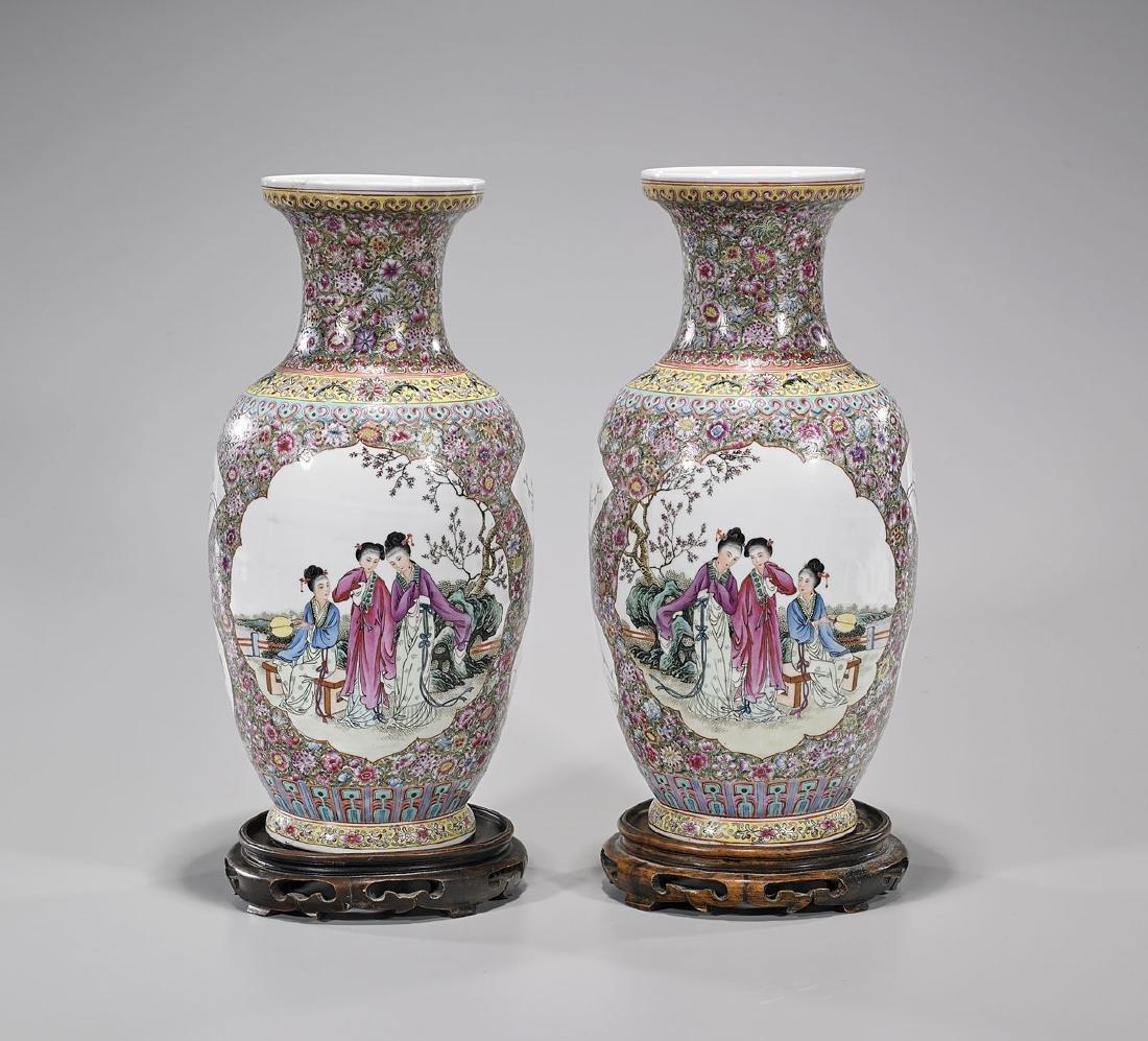 Pair Chinese Famille Rose Enameled Porcelain Vases - 2