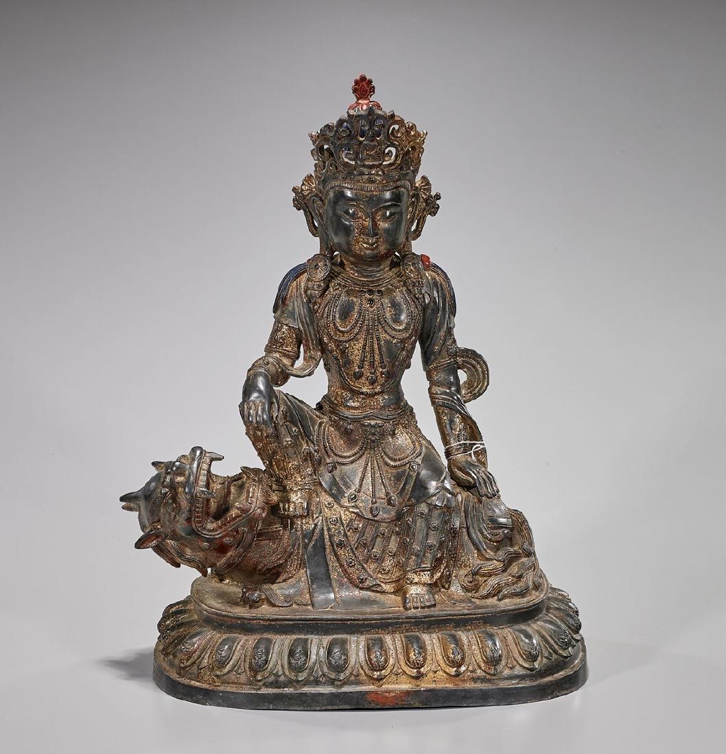Chinese Bronze Seated Guanyin