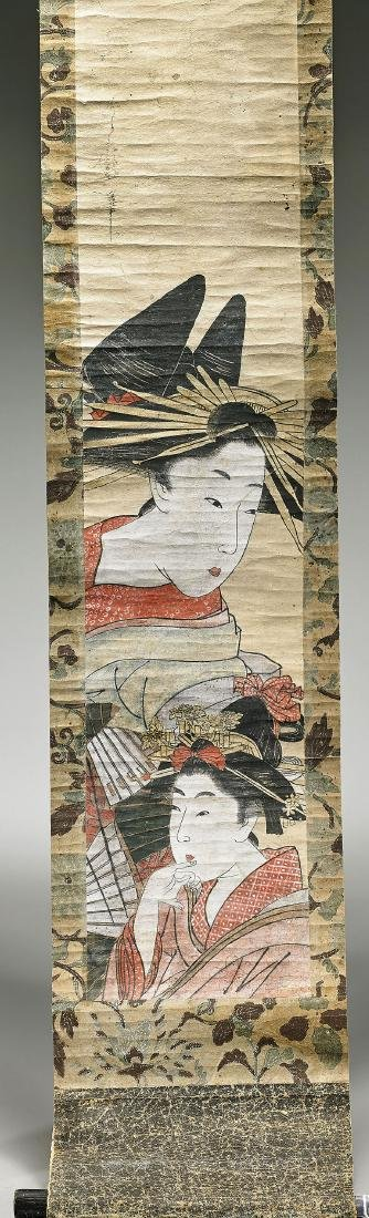 Antique Utamaro School Painting on Paper Scroll