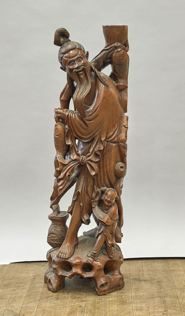 Tall Chinese Carved Hardwood Standing Figure