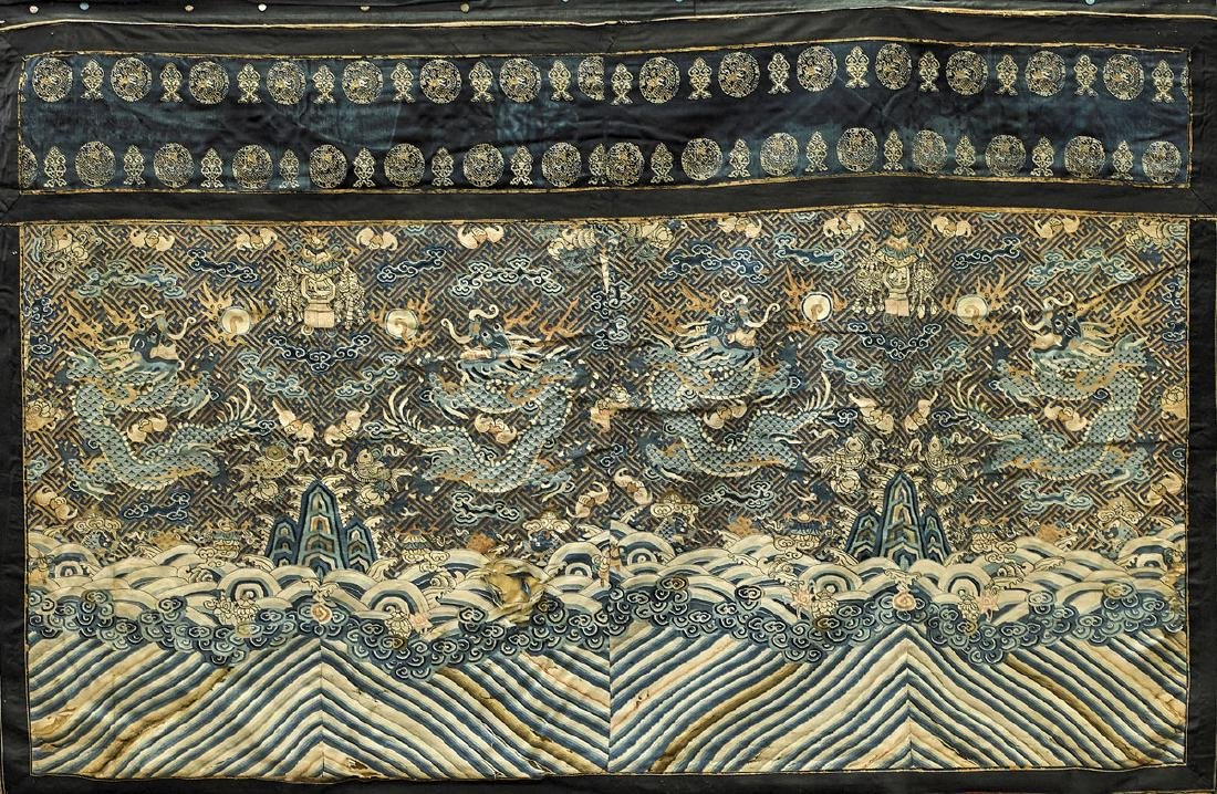 Antique Chinese Embroidered Silk Robe Fragment